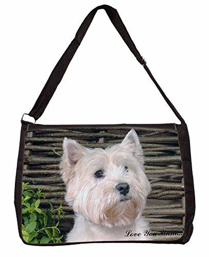 West Highland Terrier Love You Mum Large 16 Black School Laptop Shoulder Bag BDmpbAL