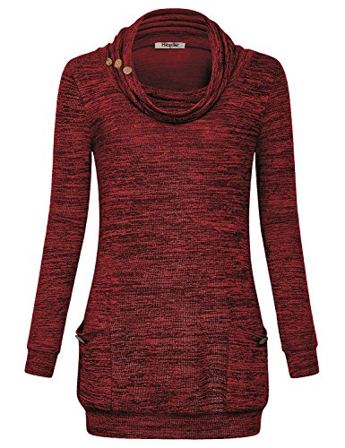 Hibelle Long Sleeve Tunic Sweater, Christmas Tops For Women Cowl Neck Holiday Jersey Warm Blouse Button and Pockets Figure Flattering Shirts Snug Durable Fall Winter Tees Wine Red XL