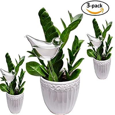 E-kay 3 Pack Plant Waterer Self Watering Globes, Bird Shape Hand Blown Clear Glass Aqua Bulbs