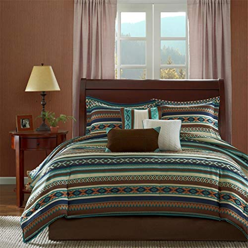 Southwest Turquoise Native American Queen Comforter, Shams, Toss Pillows & Bed Skirt (7 Piece Bed In A Bag) ()
