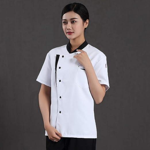 Pinji - Chaqueta de Cocinero Camarero, Camisa de Chef de Manga Corta para Verano para Hombres y Mujeres, Transpirable y Cómodo: Amazon.es: Ropa y accesorios