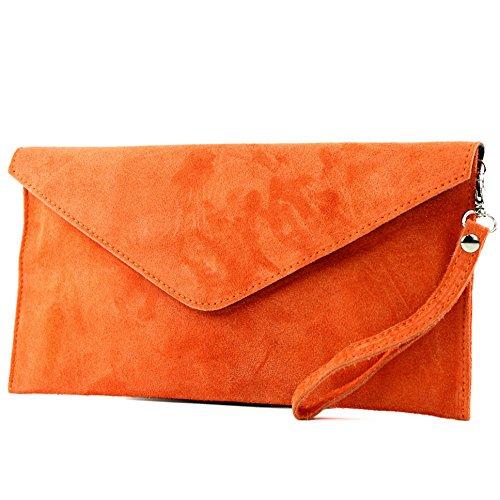 modamoda de - ital. Ledertasche Clutch Handschlaufe Unterarmtasche Abendtasche Umhängetasche Damentasche Handgelenktasche Wildleder T106 , Präzise Farbe:Orange