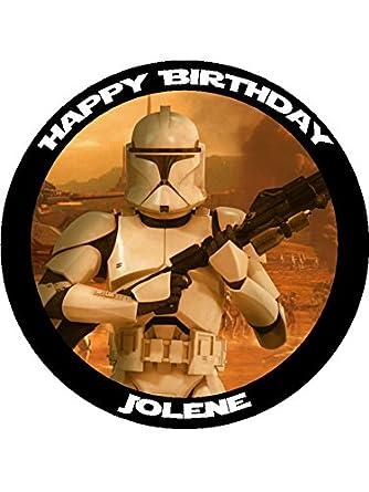 Star Wars Clone Wars Storm Trooper 75 Round personalised birthday