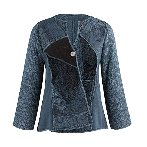 Cool Back To School Clothes (Parsley & Sage Women's Cheyenne Reversible Jacket -Asymmetrical Front Pieced Coat -Blue)