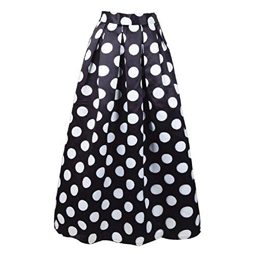 FuweiEncore Jupe des Femmes A-Ligne lgante Jupe Ronde  Pois Femmes Taille Haute Jupe mi-Longue Swing Jupe Maxi Noir