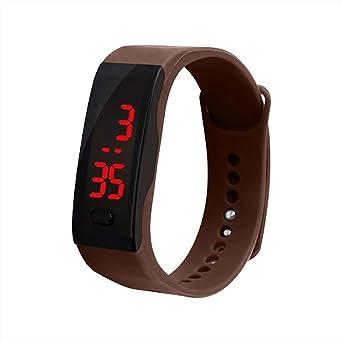 OHQ Reloj Digital con Pantalla Digital LED De Silicona Reloj Deportivo ElectróNico Pulsera para NiñOs Gel De SíLice (Beige): Amazon.es: Relojes
