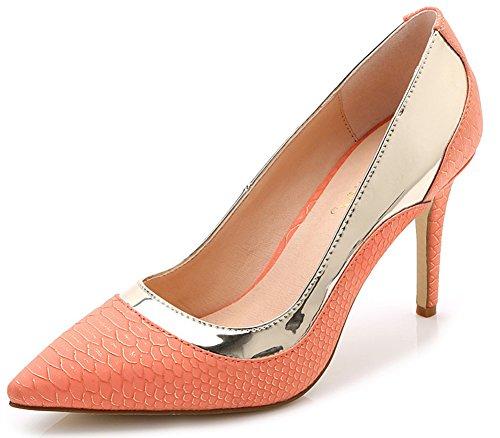 IDIFU Women's Fashion Slip On Snake Print Pointed Toe High Stiletto Heel Low Top Dress Pumps (Orange, 8 B(M) US)]()