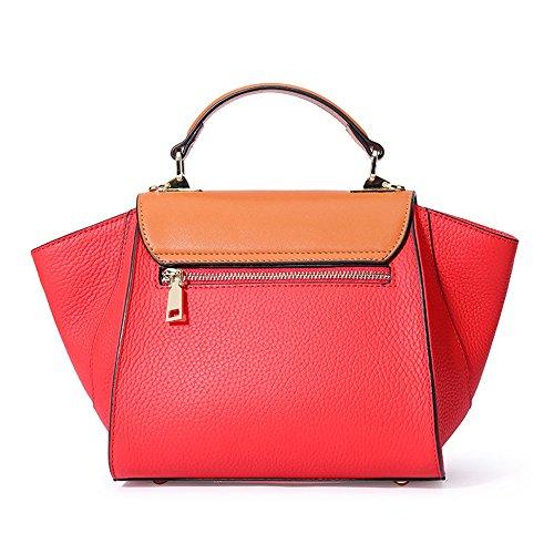 rétro Sac Boucle Loisirs Messenger en Simple Ailes Couture Rouge Ailes Bag Cuir OTqw0Tx5C
