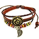 Nice Buckeye Bronze-tone Flower Studded Leaf Pendant Red Braided adjustable length leather bracelet