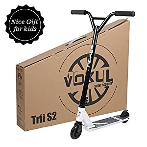 "VOKUL S2 Tricks Pro Stunt Scooter with Stable Performance - Best Entry Level Freestyle Pro Scooter for Age 7 Up Kids,Boys,Girls - CrMo4130 Chromoly Bar - Reinforced 20"" L4.1 W Deck"