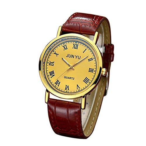 Movement Brown Dial (Wintefei Classic Man Faux Leather Roman Numeral Round Dial Quartz Movement Wrist Watch - Golden + Brown)