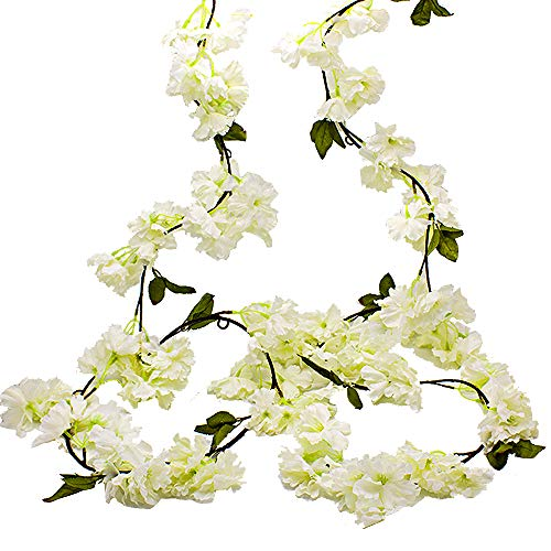 Hukidoy Artificial Cherry Blossom Garland Hanging Vine Fake Flowers Silk Garland Home Wedding Party Decor (Pack of 2) (White)