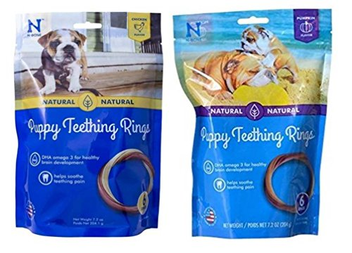 Ring Chew Dog (N-Bone Puppy Teething Rings Variety Pack - (6 Pack) Pumpkin Flavor and (6 Pack) Chicken Flavor)