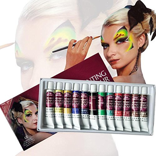 Face Paint Kit,12 Colors Professional Face Painting, Non-toxic Body Paint Halloween Makeup, Rich Pigment, Face Paint Oil Painting Art For Party Halloween Body Decorate--EMISK