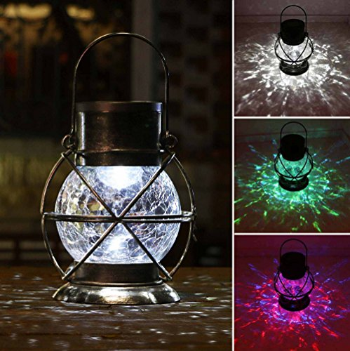 n, Metal & Glass Outdoor Garden Lights,Waterproof Decorative Lamp Color Changing Twinkling Crackle Lights ()