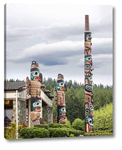 """USA, Washington State, Jamestown Totem Art PR -14 by Don Paulson - 16"""" x 19"""" Gallery Wrapped Giclee Canvas Print - Ready to Hang"""
