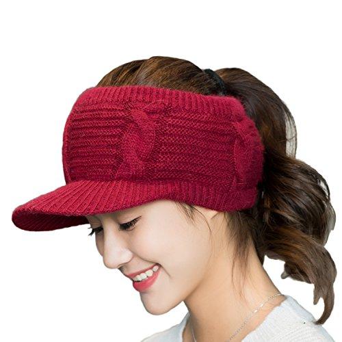 (Flammi Girl's Fleece Lined Headband Knit Bun Ponytail Beanie with Brim (Wine)