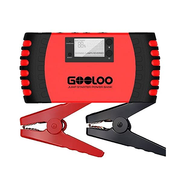 GOOLOO SuperSafe Car Jump Starter, 800A Peak 18000mAh 12V Auto Battery Booster (Up To 7.0L Gas Or 5.5L Diesel Engine) Portable Power Pack Phone Charger Built In LED Light And Smart Protection