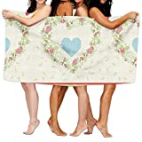 Haixia Highly Absorbent Bath Towel Beach/Bath/Pool Towel 51.2'' X 31.5'' Shabby Chic Decor Country Style Roses and Borders Butterflies Ants Heart Shapes Polka Dots Decorative