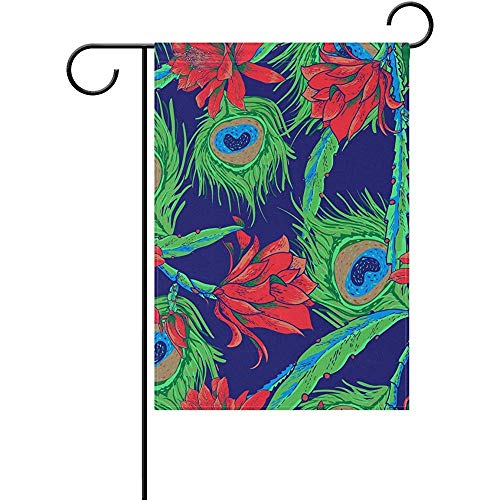 Peacock Feathers and Flowers Pattern Polyester Valentine's Day Garden Flag 12 x 18 Inch Banner Double Sided Printing for Yard - 357 Peacock
