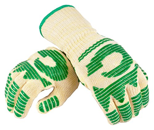 - G & F Products 1683L Extreme Resistant 13 Inch Extra Long Cuff Oven BBQ Gloves Silicone Coating Heat Level 5, 1 Pair Made of Dupont Nomex & Kevlar, Fits All All, Green
