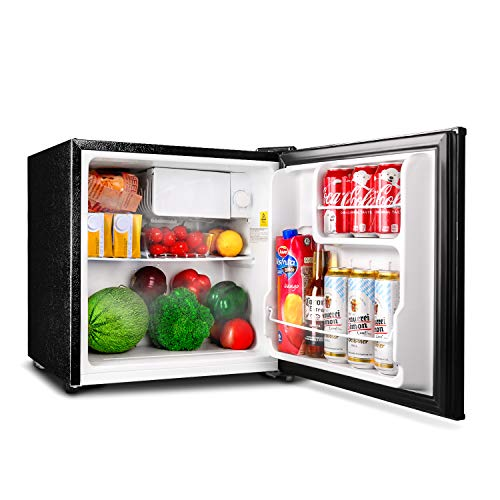TACKLIFE Mini Fridge with Freezer Energy Star Single Door, 1.6 Cubic Feet Compact Refrigerator, Super Quiet, Steel, Black, for Dorm, Office, Garage, Camper, Basement- MPBFR161