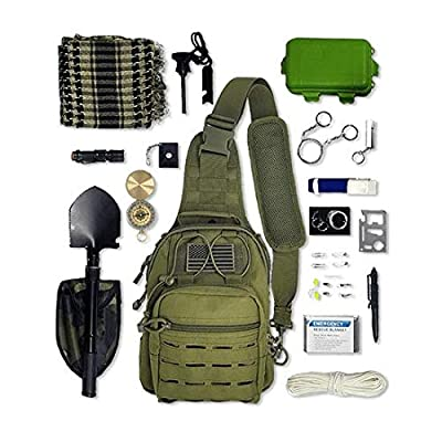 Cross-Body Tactical Sling Bag with Survival Gear & Emergency Tools | Small EDC Messenger Shoulder Sling Backpack Gift Set