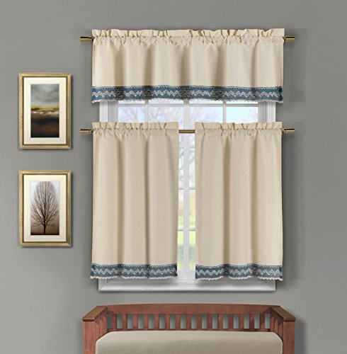 3 Pc Linen Kitchen Window Curtain Set: Crochet and Linen Accent Free Hanger (Blue)