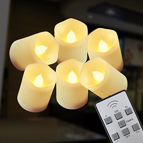 NEW VERSION【Timer】Flickering Flameless LED Tea Light Candles,6-Batteries Included,300+ Working Hours, Electric Plastic Fake Tealights Candles, Realistic, Unscented LED Votive Candles, Yellow Light