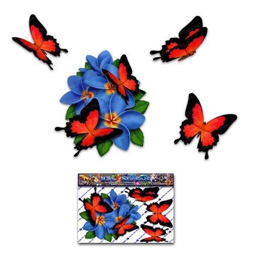 Fiore Blu Frangipani Plumeria Piccolo Grappolo + farfalla adesivo autoadesivo auto - ST00046BL_SML - JAS Stickers