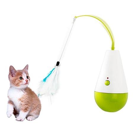 Premewish Juguete Interactivo para Gato Giratorio, Juguete Interactivo para Gatos, Juguetes de Plumas de
