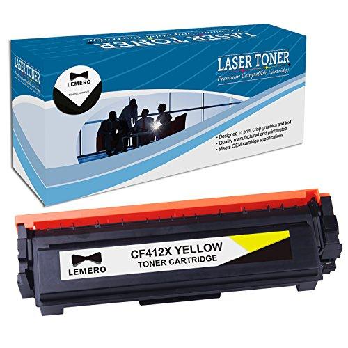 Lemero Compatible HP 410X CF412X Yellow Toner Cartridge ( Pack of 1 ) for use in HP LaserJet Pro M377dw M452dn MFP M477fdn Series Printers Print Cartridge Access Door