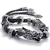 Epinki Stainless Steel Bracelet, Mens Double Dragon Bracelet Black Length 9 Inch