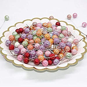 RainbowCo 100pcs Mini Pearl Plastic Stamens- Artificial Flowers Stamen for Wedding Decoration- Plastic Pearls for Decoration- Mini Artificial Fruit for Gift Box Wreaths Decorations 26