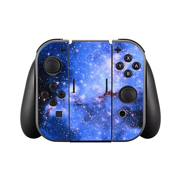 eXtremeRate Full Set Faceplate Skin Decal Stickers for Nintendo Switch with 2Pcs Screen Protector (Console & Joy-con & Dock & Grip) -Blue Galaxy 3