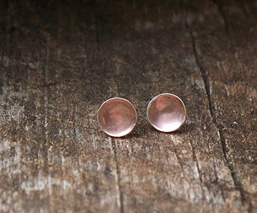 Recycled Antique Pink Depression Glass Sterling Silver Post Earrings