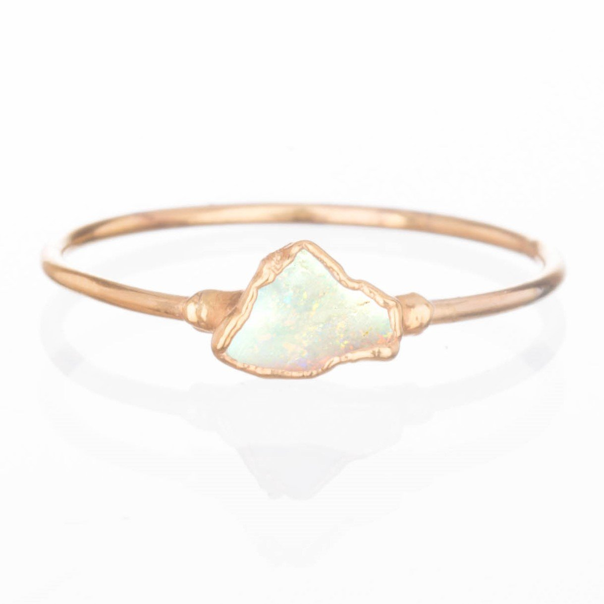5ca7b83423322 Mini Raw Opal Ring, Size 7, Yellow Gold, October Birthstone Stacking Ring