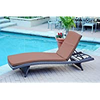Jeco WL-1_CL1-FS007 Wicker Adjustable Chaise with Brown Cushion, Espresso