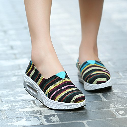 LZ-5122heitiaowen40 EnllerviiD Women Platform Slip On Stripe Canvas Sneakers Comfort Fitness Work Out Walking Shoes Black/Stripe 7.5 B(M) US hLbB2P