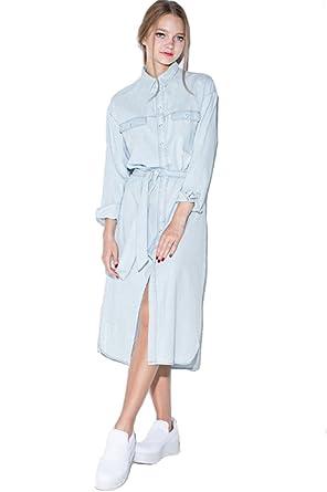 5bca925802c SZIVYSHI Women Retro Denim Dress Midi Shirt Dress Robe Femme Vestido at  Amazon Women s Clothing store