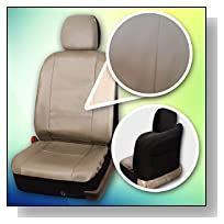 Zone Tech PU Leather Car Seat Covers - Classic Beige Tan Leather Front and Back Seat Cover with Straps and Hooks for Easier Installation