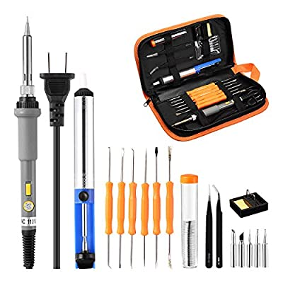 Powerextra Soldering Iron Kit Full Set 60W 110V Adjustable Temperature Soldering Welding Iron Kits with Soldering Iron Accessory Tool Kits