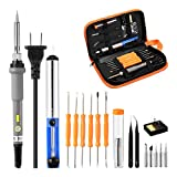 Powerextra Soldering Iron Kit,18-in-1 Soldering Iron Kit Electronics,Soldering Kit 60W 110V with Temperature Welding Tool,5pcs Soldering Iron Tips, Best for Small Electric Work and Welding.