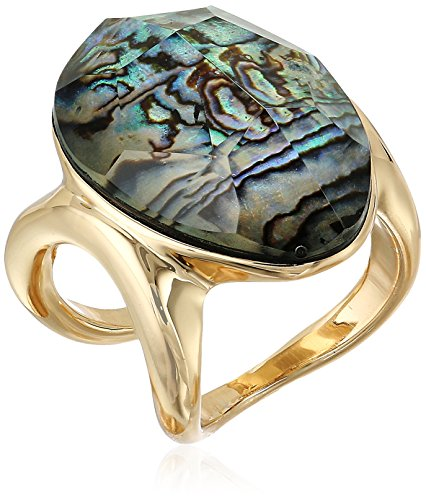 Robert Lee Morris Womens Abalone and Gold Stone Ring