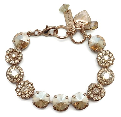Mariana Swarovski Crystal Rose Gold Plated Bracelet Golden Shadow Flower Mosaic 216216 Champagne Golden Crystal Bracelet