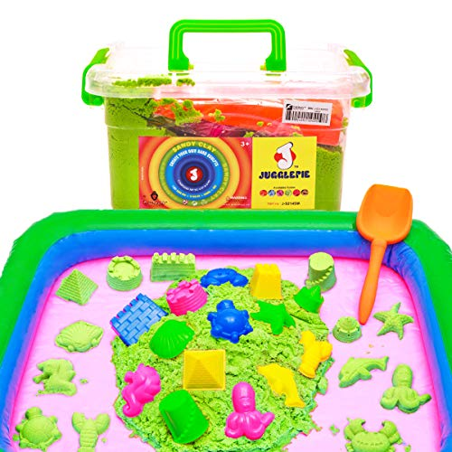 JUGGLEPIE Indoor Magic Sand | Play Set Includes an Inflatable Sand Box, 14 Molds and Shovel - Locking Travel Storage Box - Great Educational and Sensory Toy for Kids - 4.41 Lbs - Green from JUGGLEPIE