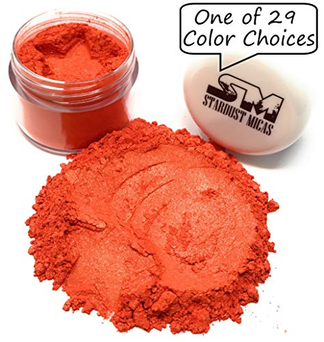 (Stardust Micas Soap Making Pigment Powder Cosmetic Grade Colorant for Makeup, Epoxy Resin, DIY Crafting Projects, Bright True Colors Stable Mica Batch Consistency Orange Saffron)