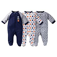 Gerber Onesies Baby Boy Sleep N' Play Sleepers 3 Pack Sports Size 3-6 Months