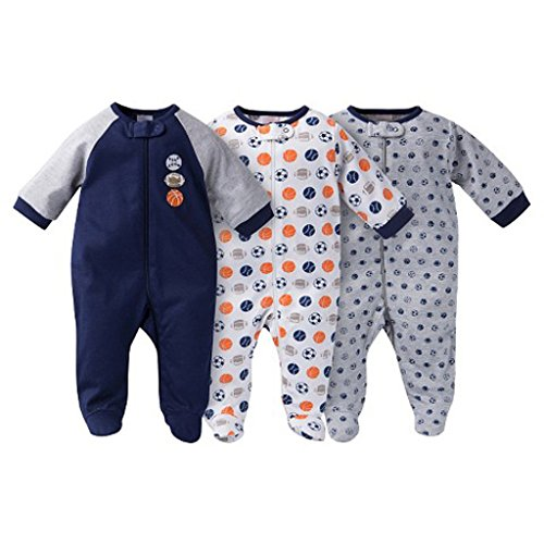 Gerber Onesies Baby Boy Sleep N Play Sleepers 3 Pack Sports Size 0-3 Months