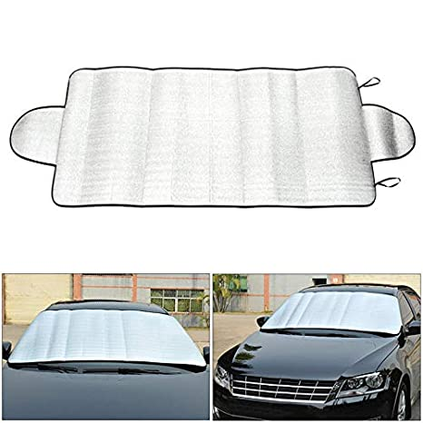 Truck Easy to Use Flexible Size for SUV Car Sun Shade Front Car Windshield Sunshade Keeps Vehicle Cool-UV Ray Protector Sunshade Fit Car Sun Screen Large or Small 35X63.3, 160 X 90 cm Silver